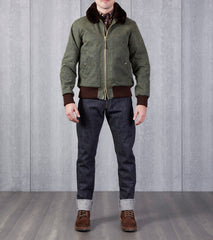 Flyers Club Jacket - 10oz Waxed Army Duck - Dark Olive Dehen Division Road