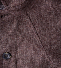 Wool Shacket - Brown Herringbone