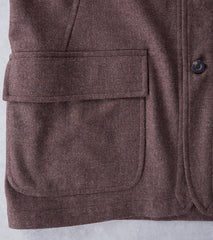 Private White V.C. Wool Shacket - Brown Herringbone Division Road