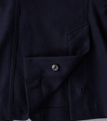Wool Shacket - Navy Herringbone