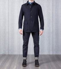 Private White V.C. Wool Shacket - Navy Herringbone Division Road