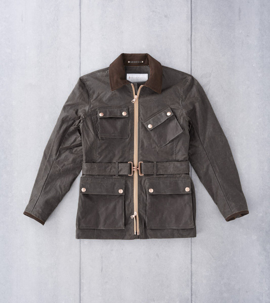 Private White V.C. Twin Track Field Jacket - Olive Wax Division Road