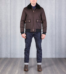 Private White V.C. Flight Jacket - Navy Doeskin Wool Division Road