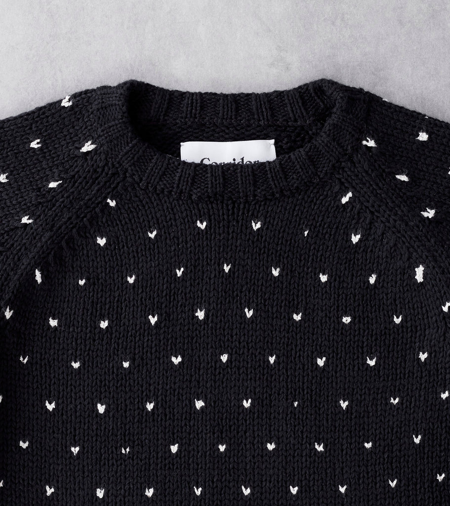 Corridor NYC Birdseye Tanguis Cotton Crewneck Sweater - Black Division Road