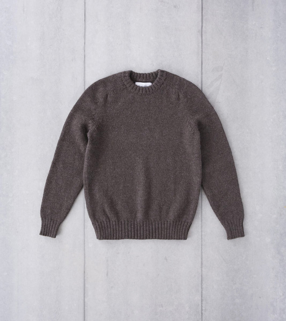 Corridor NYC Organic Highland Wool Crewneck Sweater - Cedar Brown Division Road