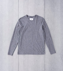 Reigning Champ Long Sleeve Tee - Marled Black Division Road
