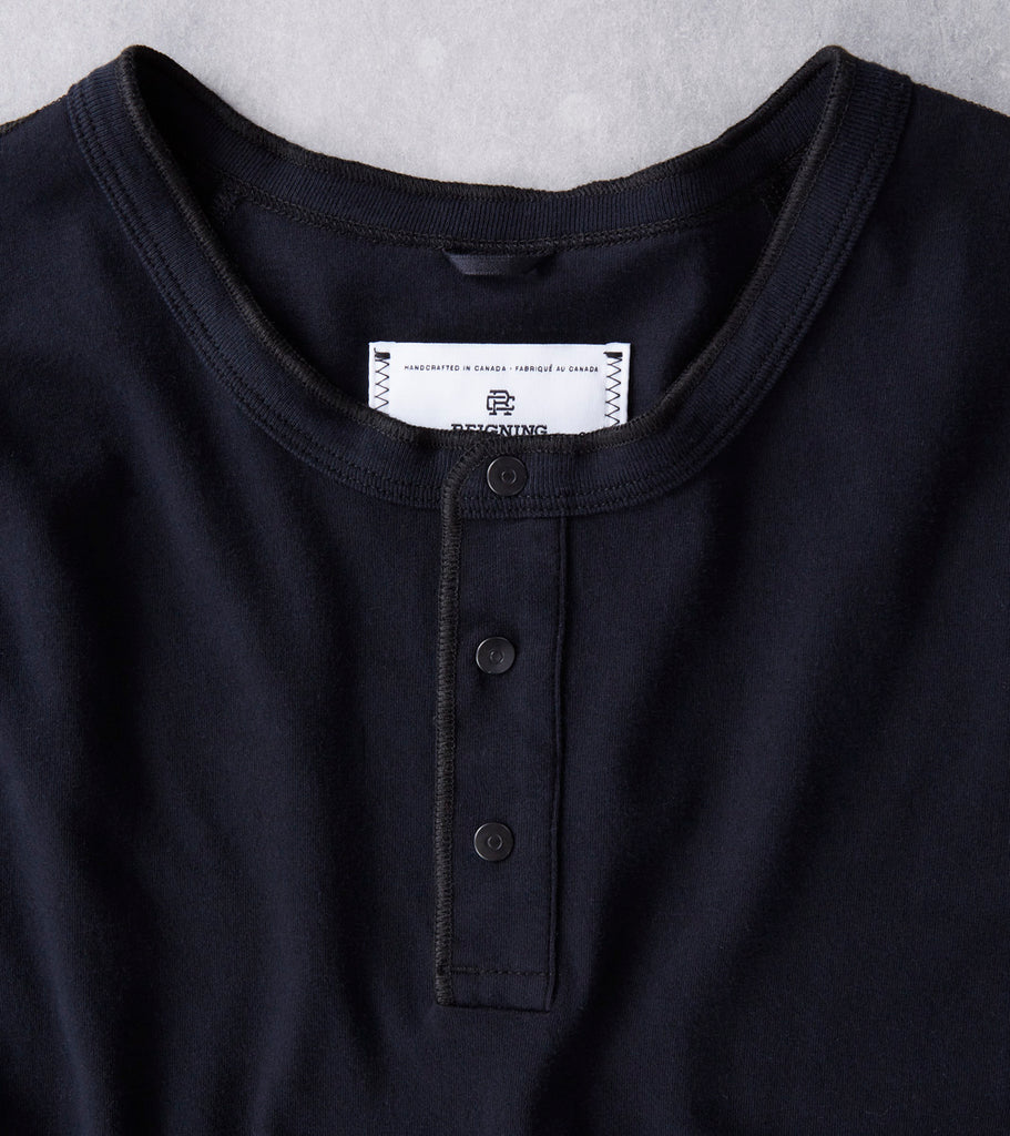 Reigning Champ Long Henley - Black Division Road