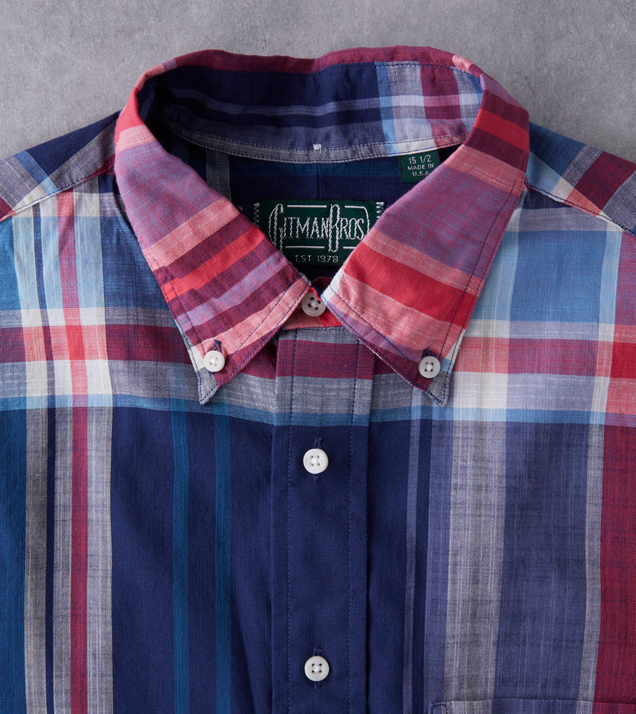Gitman Vintage Big Madras Check - Navy Division Road