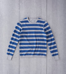 Reigning Champ Long Sleeve Striped Terry Crewneck - Court Blue Division Road