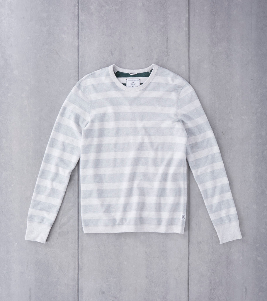 Reigning Champ Long Sleeve Striped Terry Crewneck - Court Green Division Road