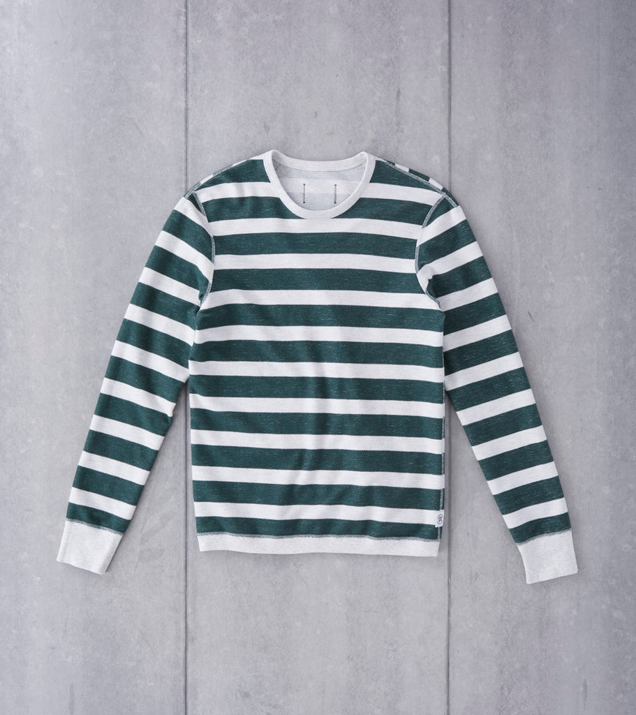 Reigning Champ Long Sleeve Striped Terry Crewneck - Court Green