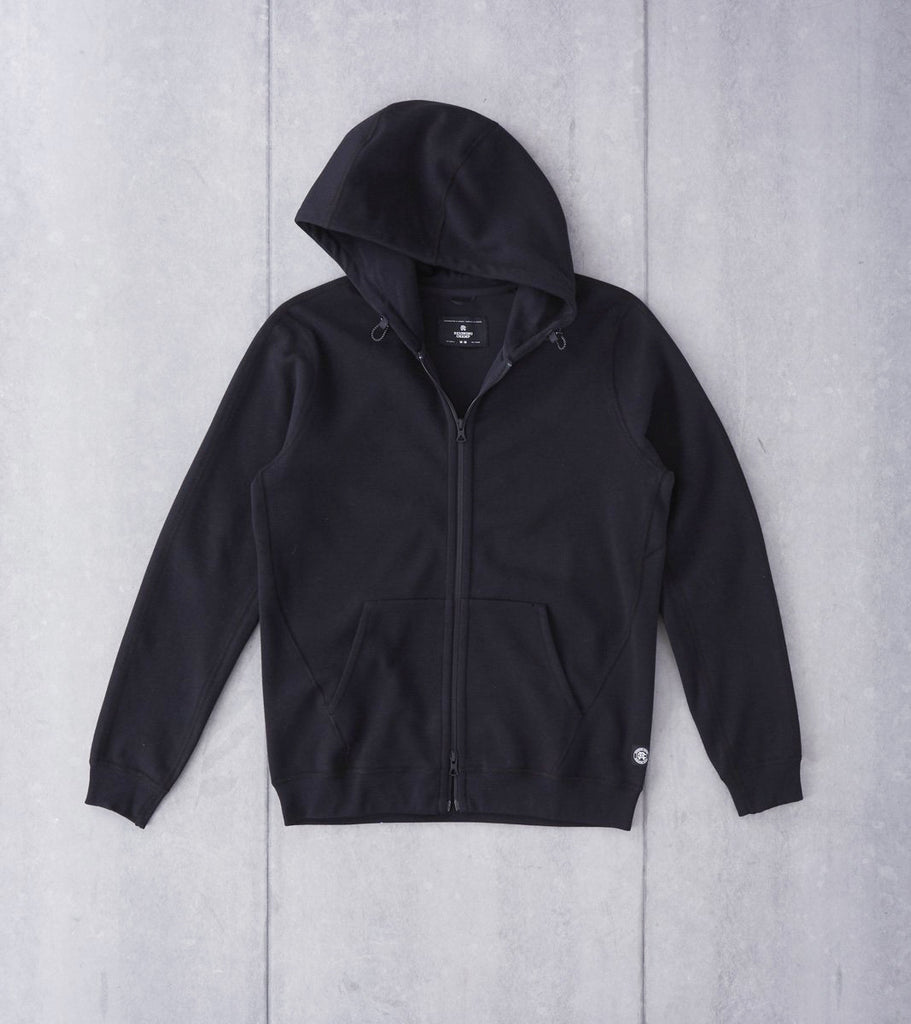 Reigning Champ Bonded Interlock Full Zip Hoodie - Black Division Road