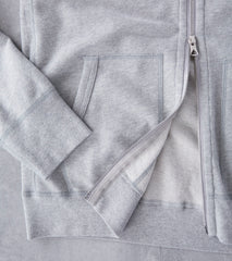 Reigning Champ Lightweight Full Zip Hoodie - Heather Grey Division Road