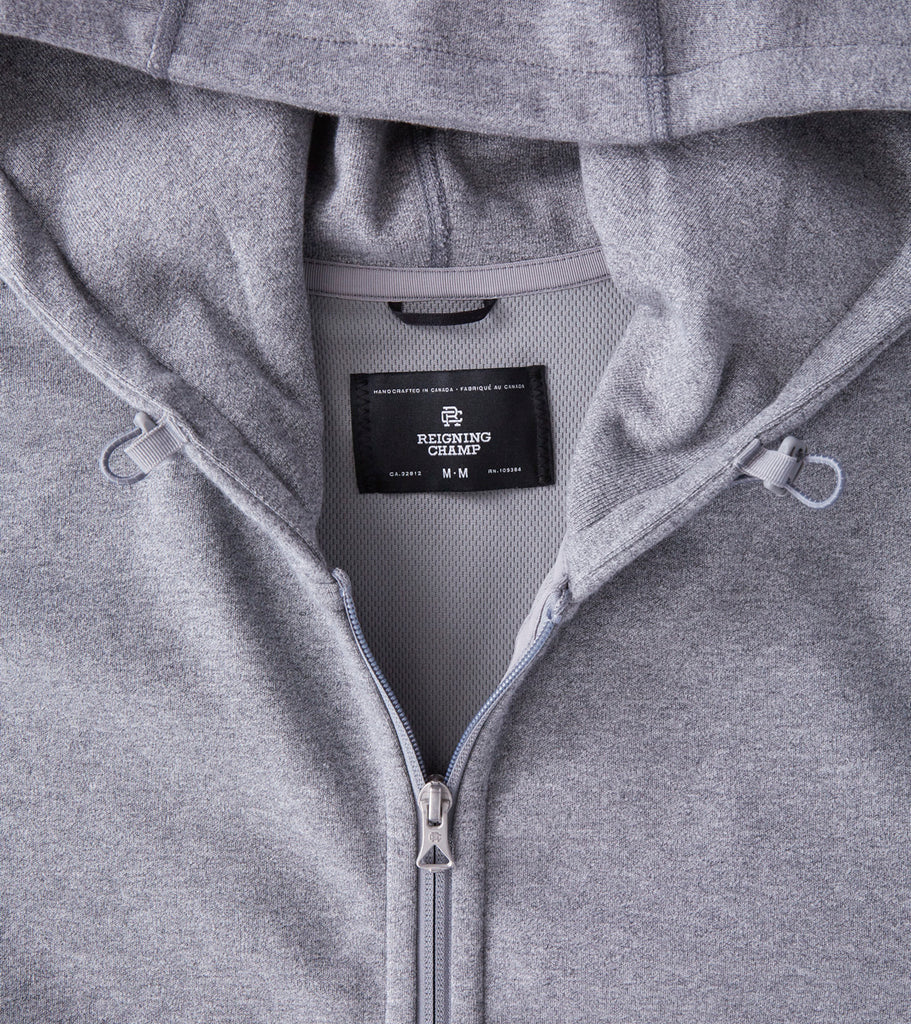Reigning Champ Bonded Interlock Full Zip Hoodie - Moraine Division Road