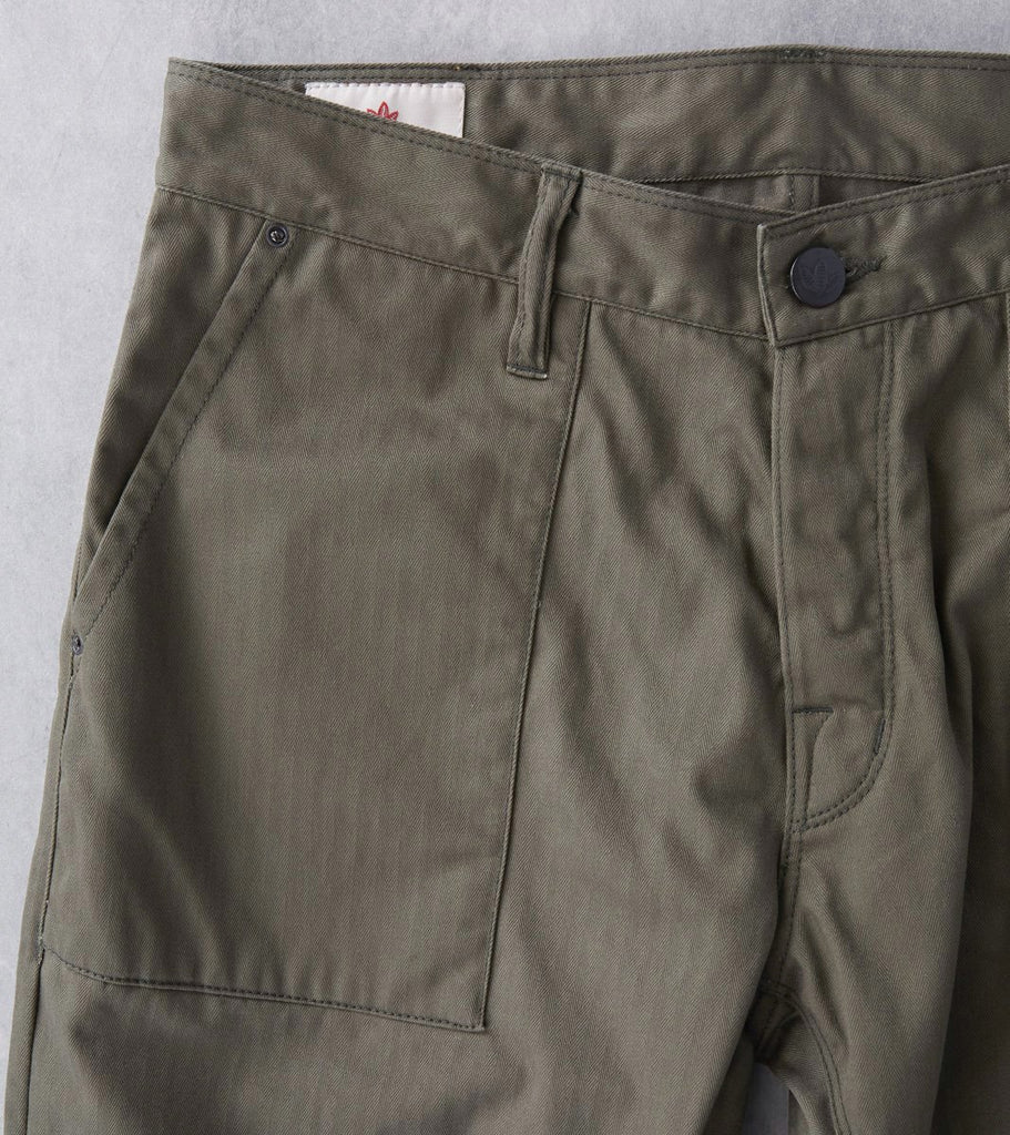 Shockoe Atelier IVY Street Modern Military Trouser - Herringbone Twill - Fatigue Green Division Road