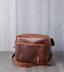 "Vermilyea Pelle 15"" Large Field Bag - Brown Nut Dublin & Natural Wooly Leather Division Road"