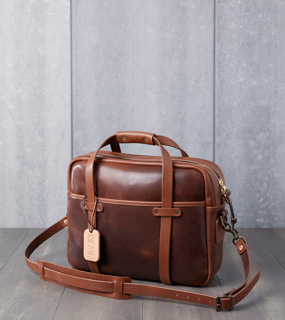 "Vermilyea Pelle 15"" Briefcase - Brown Nut Dublin & Natural Wooly Leather Division Road"