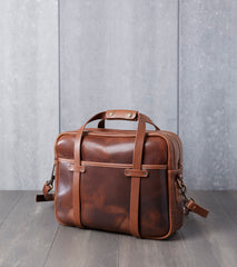 "15"" Briefcase - Brown Nut Dublin & Natural Wooly Leather"