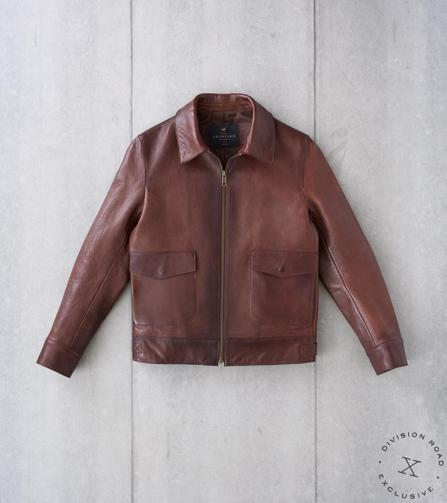 Division Road Cromford Leather x DR Sheepskin Fly Rider Jacket - Chestnut Division Road