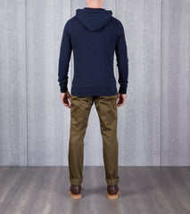 wings+horns Base 1x1 Slub Hooded Pullover - Navy Division Road