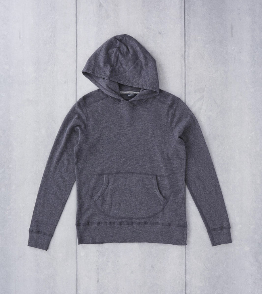 wings+horns Base 1x1 Slub Hooded Pullover - Heather Charcoal Division Road