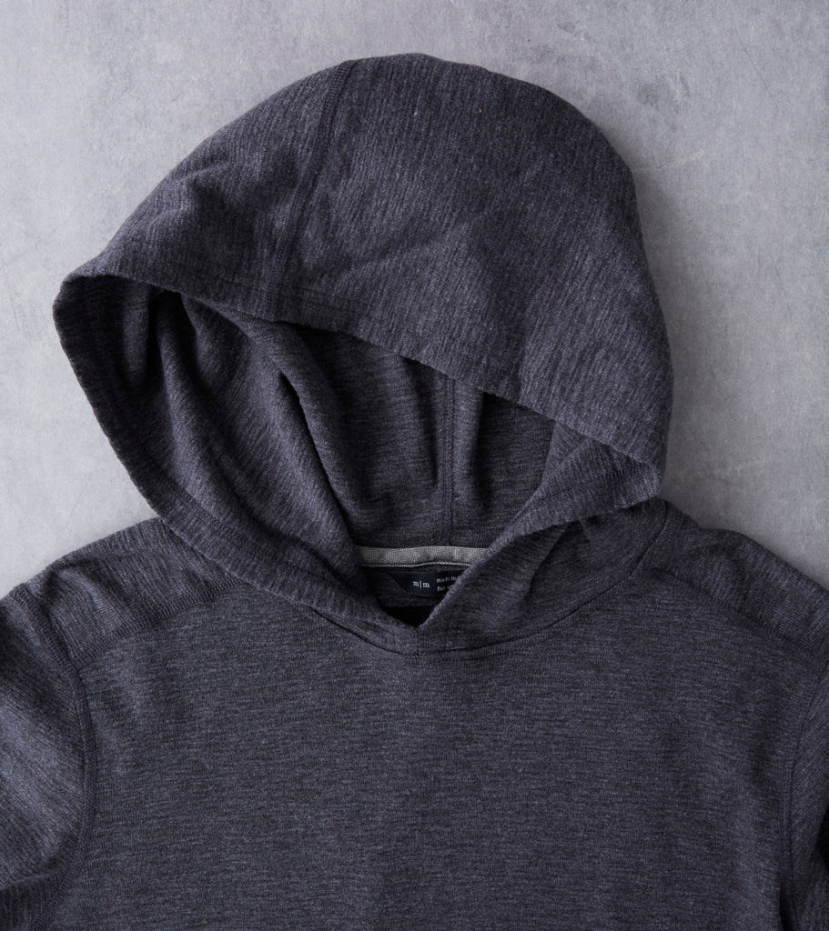 Base 1x1 Slub Hooded Pullover - Heather Charcoal