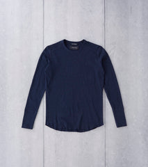 wings+horns Base 1x1 Slub Long Sleeve Crewneck - Navy Division Road