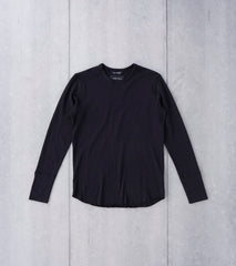 wings+horns Base 1x1 Slub Long Sleeve Crewneck - Black Division Road