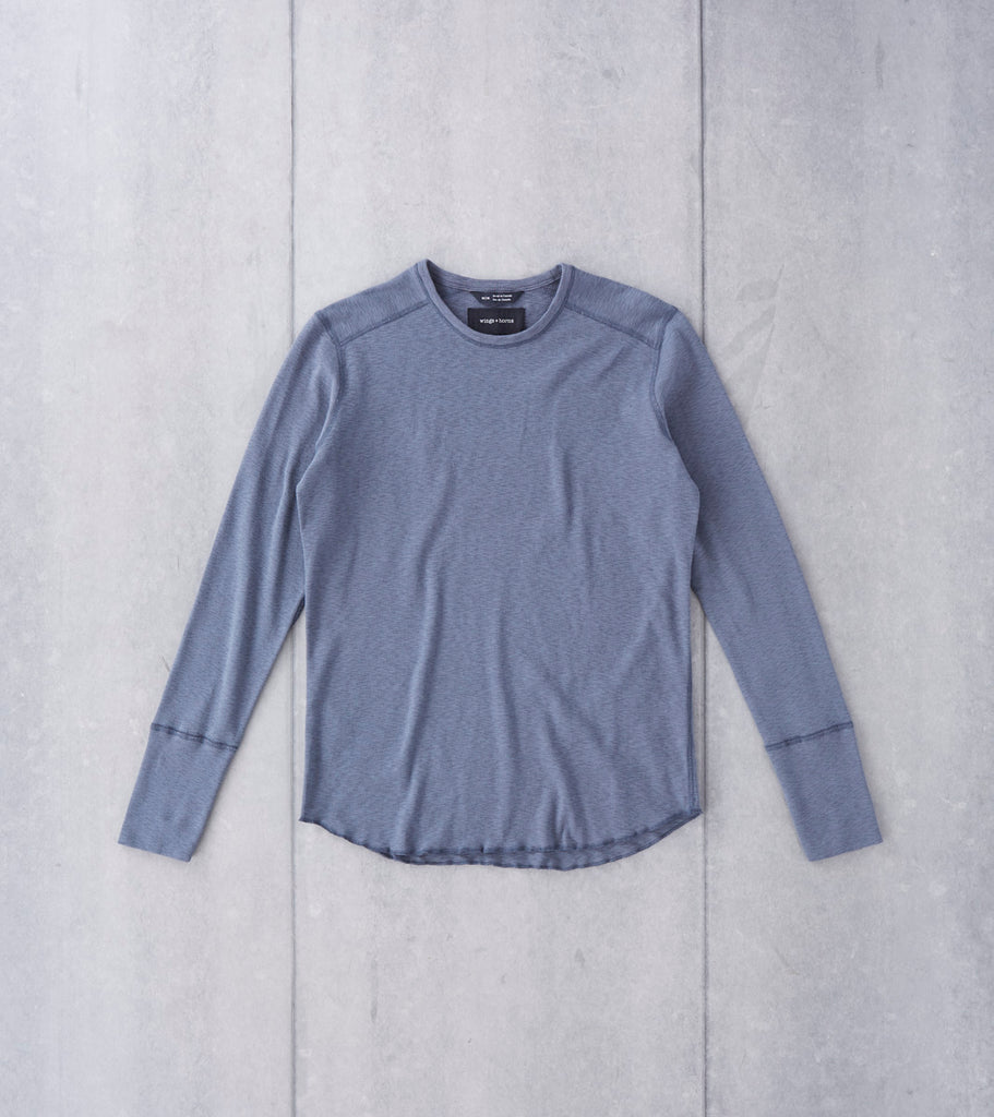 wings+horns Base 1x1 Slub Long Sleeve Crewneck - Shadow Division Road
