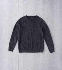 wings+horns Knit Pile Reversible Crewneck - Melange Black Division Road