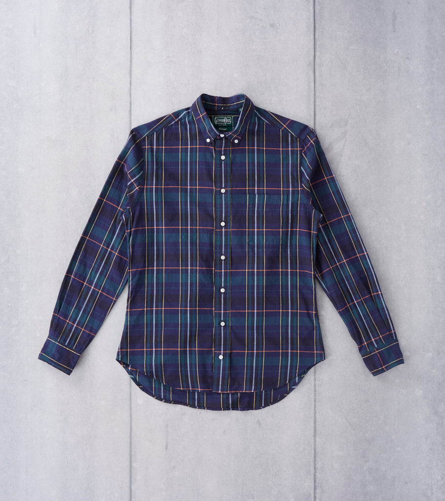 Gitman Vintage Blackwatch Tattersall Poplin - Navy Division Road