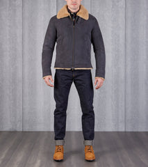 Cromford Leather IVY Street Shearling Flight Bomber Jacket - Charcoal Division Road