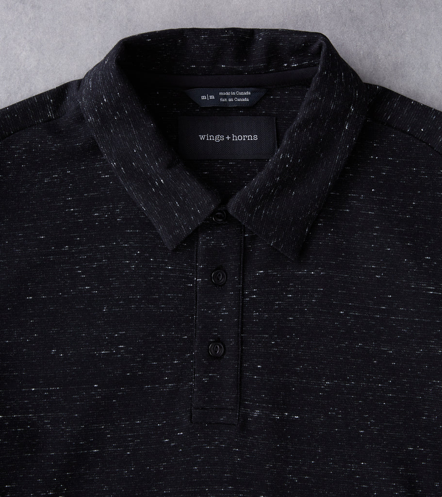 Division Road wings+horns Signals Long Sleeve Polo - Static Black