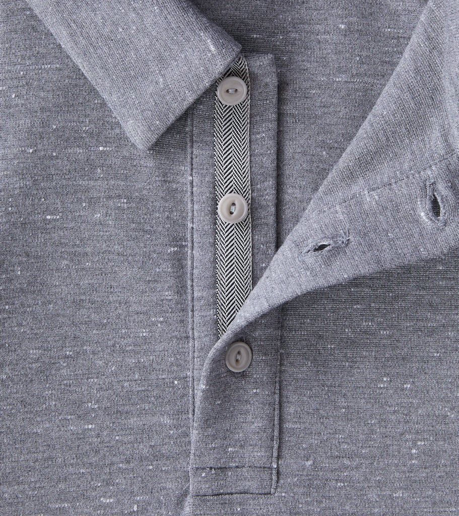 Division Road wings+horns Signals Long Sleeve Polo - Static Grey