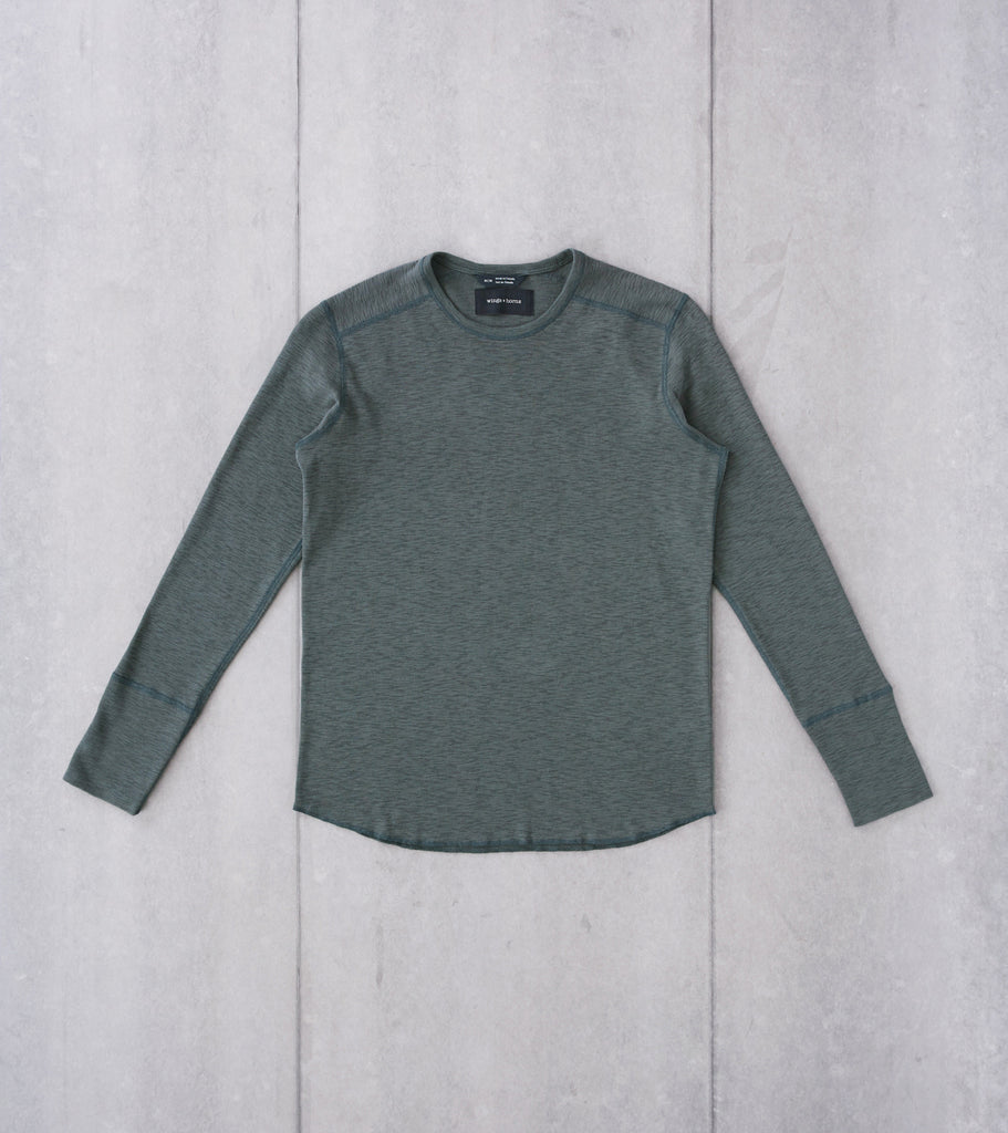 Division Road wings+horns Base 1x1 Slub Long Sleeve Crewneck - Pine