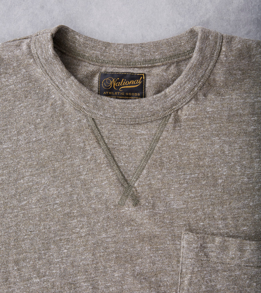 National Athletic Goods V Pocket Tee - Sage Division Road