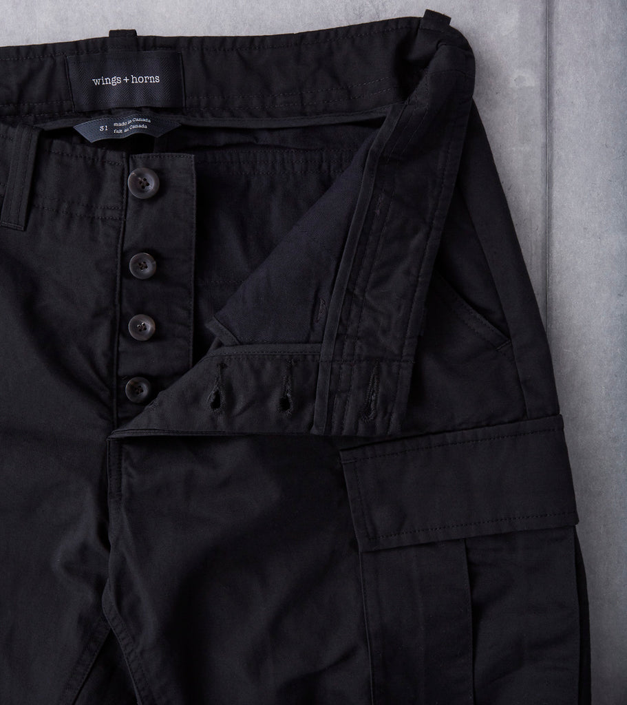 wings + horns Utility Linen BDU Cargo Pant - Black Division Road