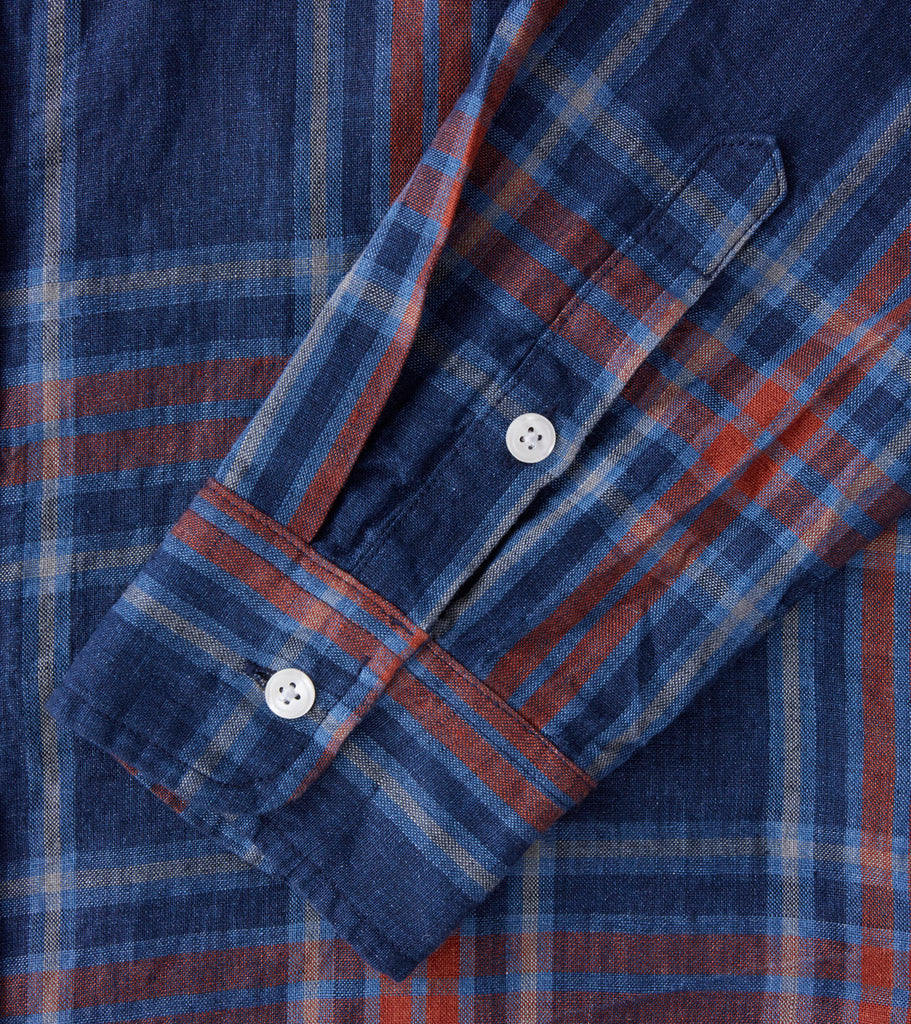 Corridor NYC Indigo Linen Plaid - Blue Division Road