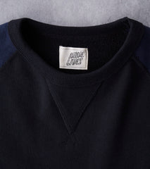 Nine Lives Tsuriurake Loopwheeled Raglan Sweatshirt - Black & Navy