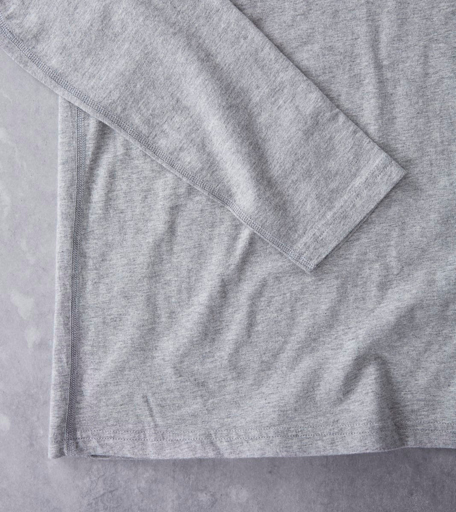 Reigning Champ Long Sleeve Tee - Heather Grey Division Road