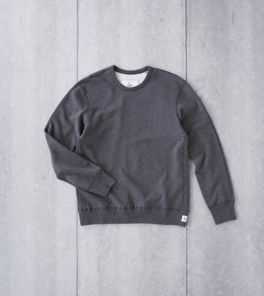 Reigning Champ Crewneck Sweatshirt - Heather Charcoal Division Road