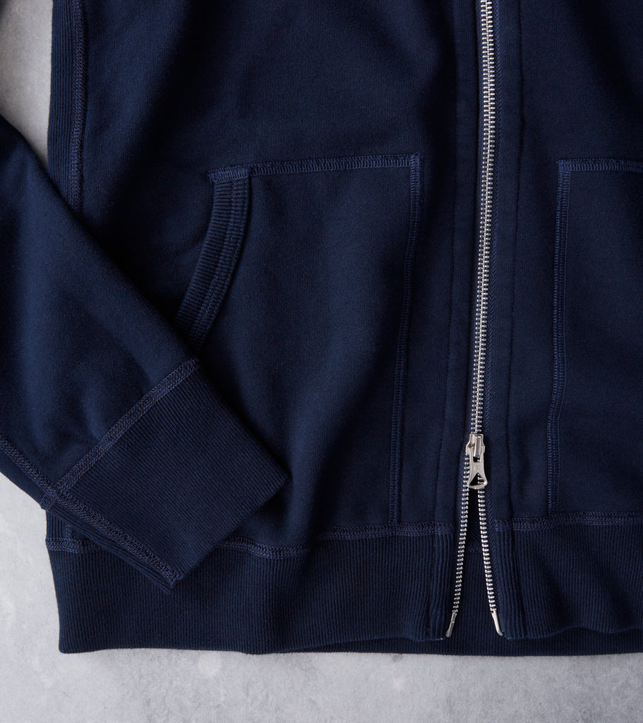 Reigning Champ Full Zip Hoodie - Navy Division Road