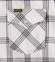 Iron Heart 229-SNO - Western - 12oz Ultra Heavy Flannel Windowpane Check Snow Grey Division Road