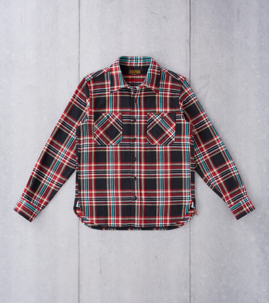 Iron Heart 238-BLK - Work Shirt - 12oz Ultra Heavy Flannel Crazy Check Black Division Road