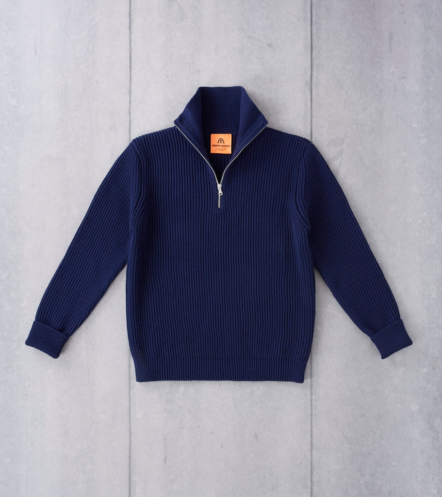 Andersen-Andersen Navy Half Zip Sweater - Royal Blue Division Road
