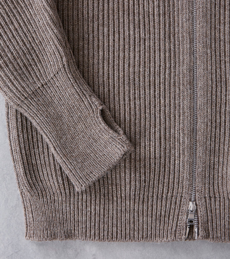 Andersen-Andersen Navy Full Zip Sweater - Natural Taupe Division Road
