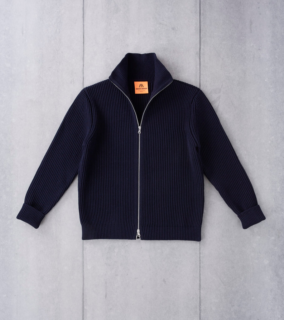Andersen-Andersen Navy Full Zip Sweater - Navy Division Road
