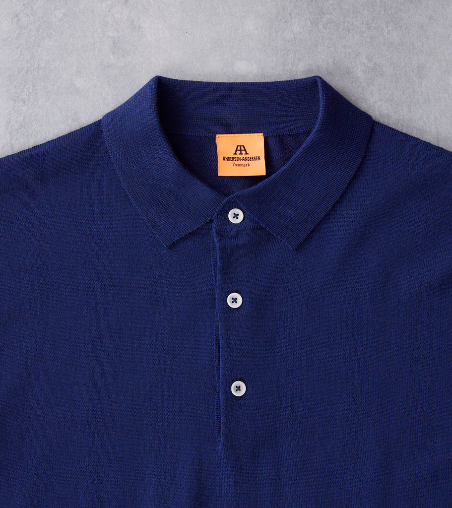 Andersen-Andersen Light Wool Polo - Royal Blue Division Road