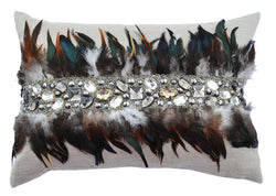 Silver Wheat Pillow With Feathers and Jewels