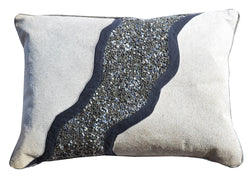 Charcoal Pillow With Grey Hairon Hide And Sequins